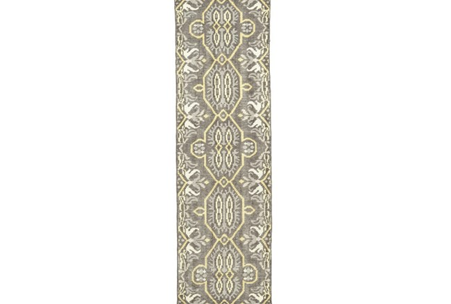 30X96 Rug-Yellow And Grey Hand Knotted Global Pattern - 360