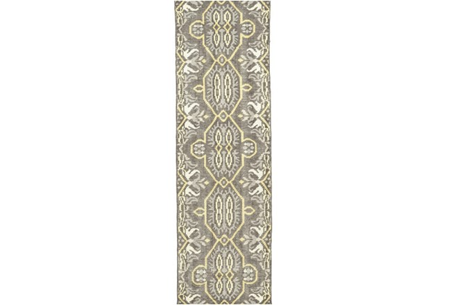 """2'5""""x8' Rug-Yellow And Grey Hand Knotted Global Pattern - 360"""