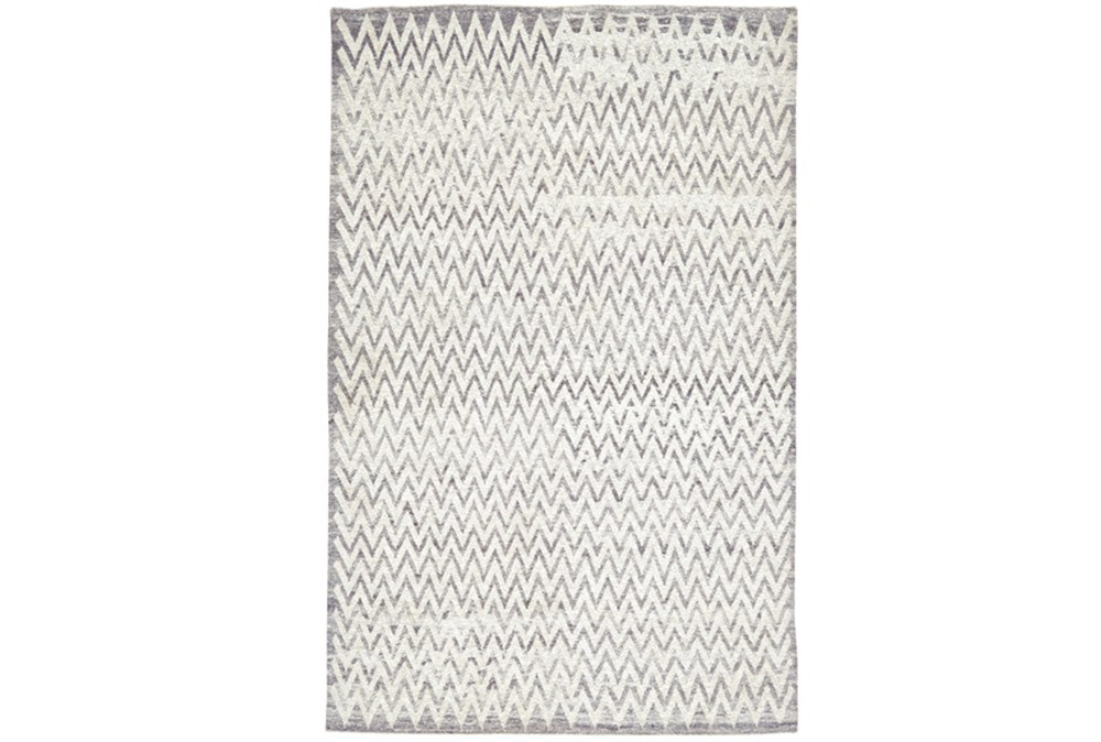 2'x3' Rug-Grey Hand Knotted Distressed Chevron