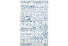 2'x3' Rug-Cobalt Hand Knotted Distressed Circles