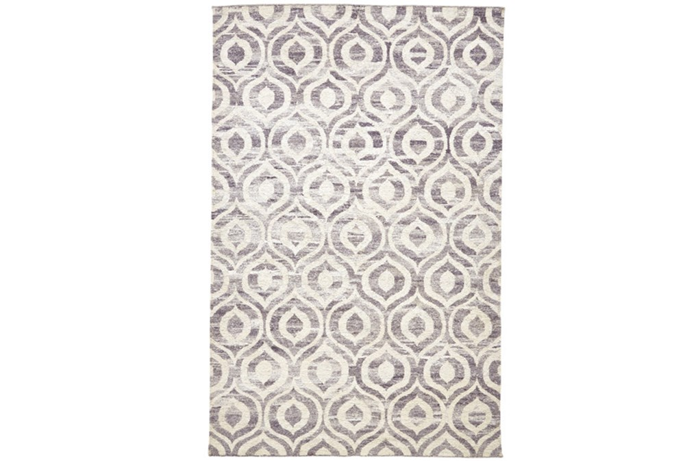 2'x3' Rug-Charcoal Hand Knotted Distressed Ogee