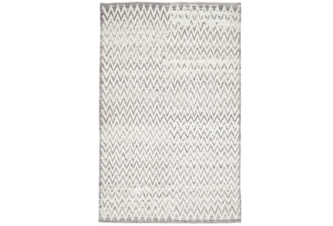 48X72 Rug-Grey Hand Knotted Distressed Chevron - 360