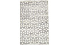 48X72 Rug-Graphite Hand Knotted Distressed Cutwork
