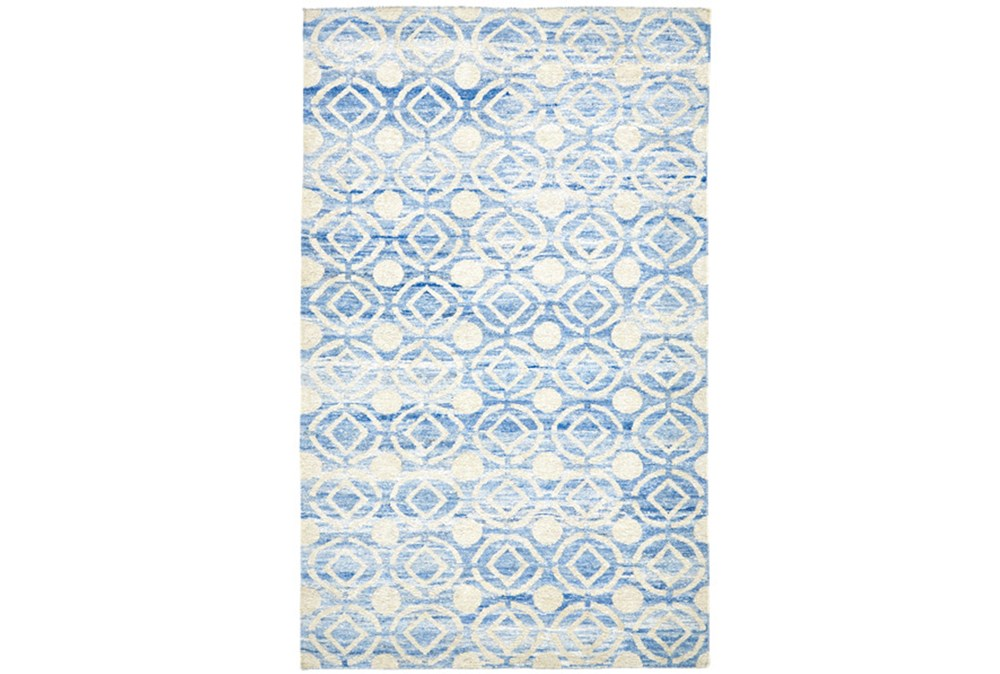 66X102 Rug-Cobalt Hand Knotted Distressed Circles