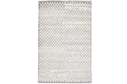 93X117 Rug-Grey Hand Knotted Distressed Chevron - Main