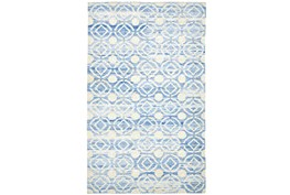 93X117 Rug-Cobalt Hand Knotted Distressed Circles