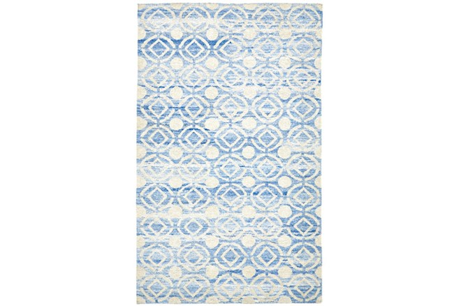 93X117 Rug-Cobalt Hand Knotted Distressed Circles - 360