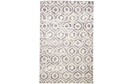 93X117 Rug-Charcoal Hand Knotted Distressed Ogee