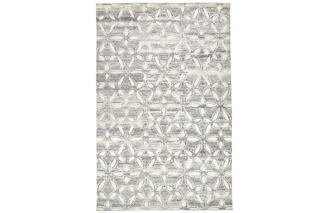 93X117 Rug-Graphite Hand Knotted Distressed Cutwork - 360