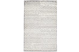 102X138 Rug-Grey Hand Knotted Distressed Chevron