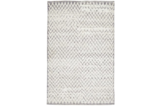 102X138 Rug-Grey Hand Knotted Distressed Chevron - 360
