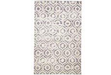 102X138 Rug-Charcoal Hand Knotted Distressed Ogee