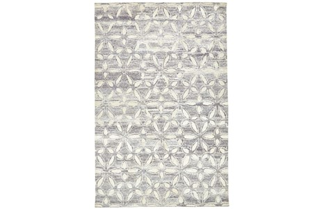 102X138 Rug-Graphite Hand Knotted Distressed Cutwork