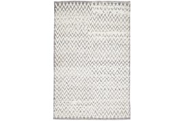 114X162 Rug-Grey Hand Knotted Distressed Chevron