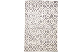 114X162 Rug-Charcoal Hand Knotted Distressed Ogee