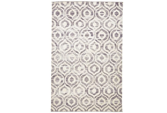114X162 Rug-Charcoal Hand Knotted Distressed Ogee - 360