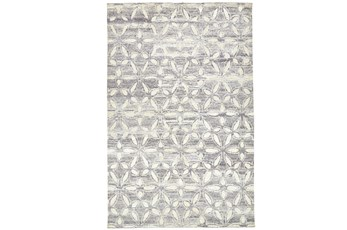 114X162 Rug-Graphite Hand Knotted Distressed Cutwork