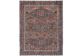 4'x6' Rug-Hand Knotted Saturated Rust And Aqua Traditional
