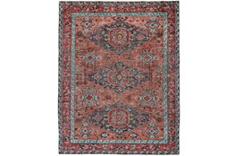 66X102 Rug-Hand Knotted Saturated Rust And Aqua Traditional