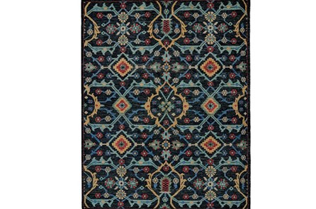 93X117 Rug-Hand Knotted Saturated Blue Traditonal - Main
