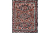 93X117 Rug-Hand Knotted Saturated Rust And Aqua Traditional - Signature