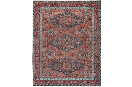 93X117 Rug-Hand Knotted Saturated Rust And Aqua Traditional - Main