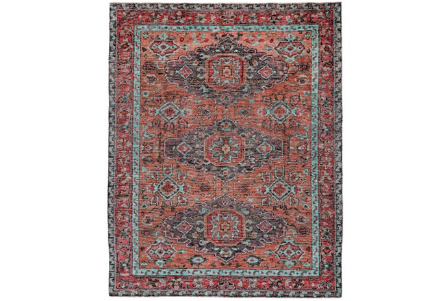 93X117 Rug-Hand Knotted Saturated Rust And Aqua Traditional - 360
