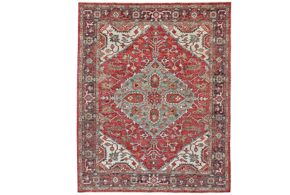 """7'8""""x9'8"""" Rug-H& Knotted Saturated Red & Charcoal Traditional"""