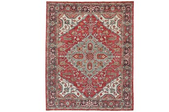 "7'8""x9'8"" Rug-H& Knotted Saturated Red & Charcoal Traditional"