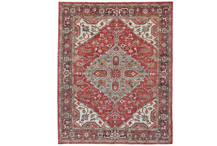 93X117 Rug-H& Knotted Saturated Red & Charcoal Traditional