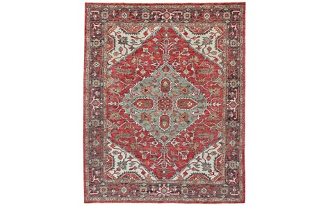 93X117 Rug-H& Knotted Saturated Red & Charcoal Traditional - Main