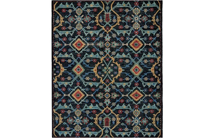 102X138 Rug-Hand Knotted Saturated Blue Traditonal - 360