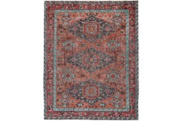 102X138 Rug-Hand Knotted Saturated Rust And Aqua Traditional