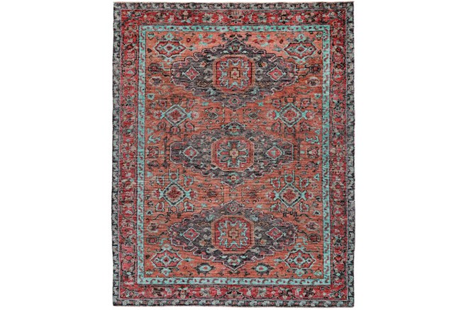 102X138 Rug-Hand Knotted Saturated Rust And Aqua Traditional - 360