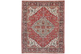 102X138 Rug-H& Knotted Saturated Red & Charcoal Traditional