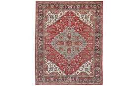 """8'5""""x11'5"""" Rug-H& Knotted Saturated Red & Charcoal Traditional"""