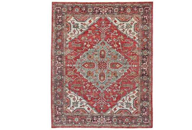 102X138 Rug-H& Knotted Saturated Red & Charcoal Traditional - 360