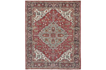 "8'5""x11'5"" Rug-H& Knotted Saturated Red & Charcoal Traditional"