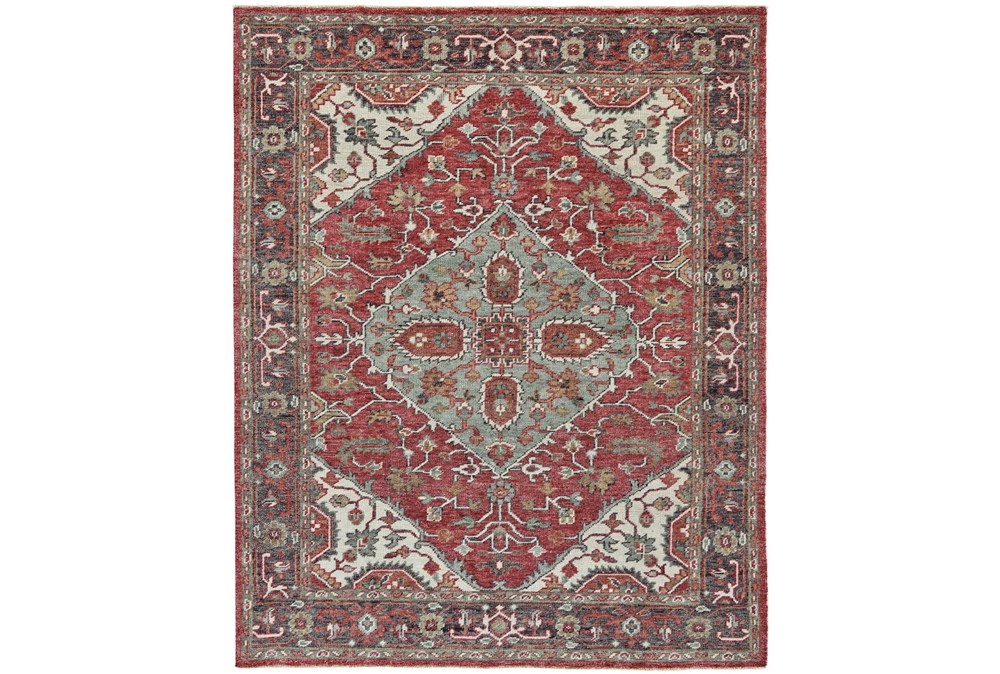 "9'5""x13'5"" Rug-H& Knotted Saturated Red & Charcoal Traditional"