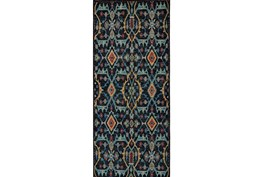 30X96 Rug-Hand Knotted Saturated Blue Traditonal