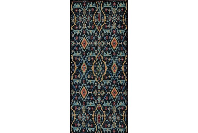 30X96 Rug-Hand Knotted Saturated Blue Traditonal - 360