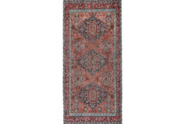 30X96 Rug-Hand Knotted Saturated Rust And Aqua Traditional
