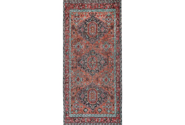 30X96 Rug-Hand Knotted Saturated Rust And Aqua Traditional - 360