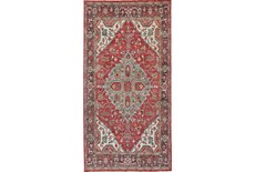 30X96 Rug-H& Knotted Saturated Red & Charcoal Traditional