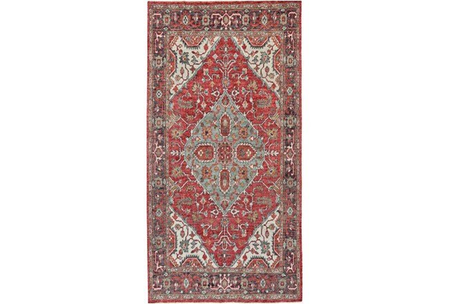 30X96 Rug-H& Knotted Saturated Red & Charcoal Traditional - 360