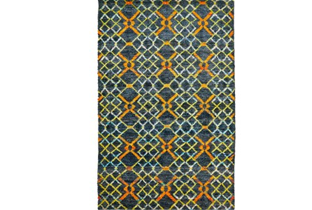 26X48 Rug-Charcoal And Pewter Zig Zag