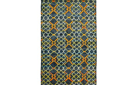 120X158 Rug-Charcoal And Pewter Zig Zag