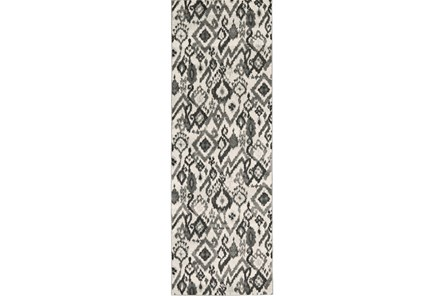 34X94 Rug-Charcoal And Pewter Zig Zag