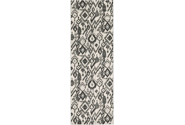 34X94 Rug-Charcoal And Pewter Zig Zag - 360