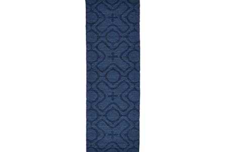 30X96 Rug-Cobalt Blue Tonal Xo